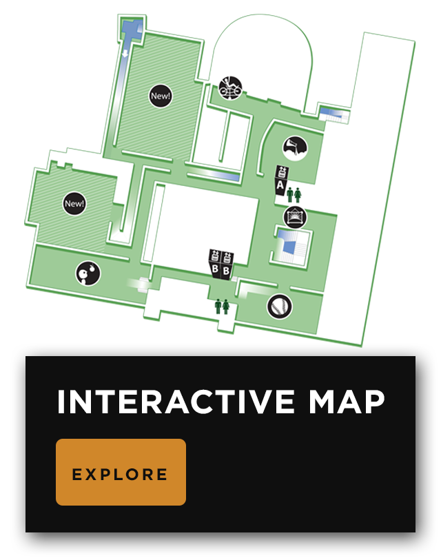 Map of the third floor, showing the locations of major, permanent exhibits.