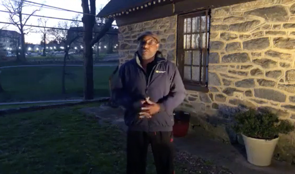 Image of Chief Astronomer Derrick Pitts standing in his backyard.