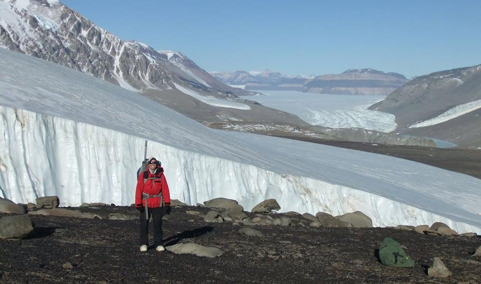 Overlooking Taylor Glacier in the Dry Valleys, Antarctica. The Dry Valleys are the largest ice-free expanse on the entire continent and attract a diverse array of researchers studying glaciers, climate, and planetary geology.