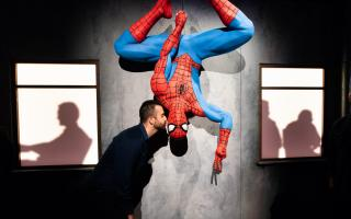 Photograph of Spider-Man figure at Marvel Exhibit