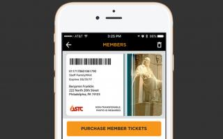 A photo of a digital membership card featured on The Franklin Institute's app