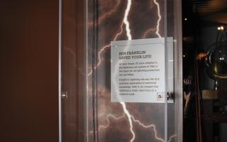See Benjamin Franklin's Lightning Rod at The Franklin Institute.