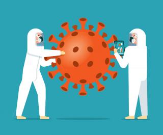 Illustration of two scientists in protective gear facing a large coronavirus cell; one scientist holds an iPad