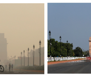 before/after image of the New Delhi War Memorial