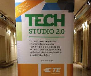"A banner in The Franklin Institute reads, ""Tech Studio: Coming Soon. Engineered by TE Connectivity."""